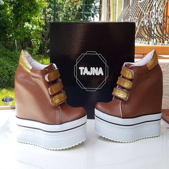 Brown Gold Wedge Casual Platform Shoes - Tajna Club