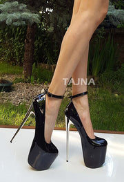 Black Silver Heeled Ankle Strap Platform Shoes - Tajna Club