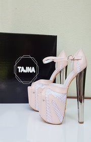 Light Pink Silver Heeled Platform Shoes - Tajna Club