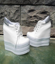Lace up White 12-20 cm High Heel Wedge Casual Shoes - Tajna Club