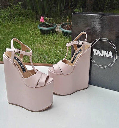 LIGHT PINK SUPER HIGH HEEL SANDALS - Tajna Club
