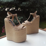 Beige Espadril 20 cm High Heel Wedge Sandals - Tajna Club