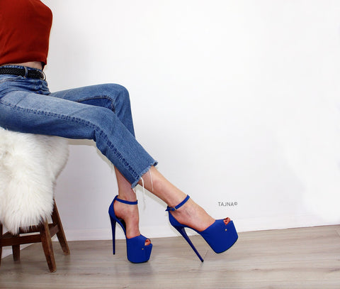 Blue Ankle High Heel Platform Shoes - Tajna Club