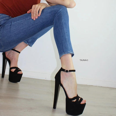 Black Suede Cross Strap Thick Heels - Tajna Club