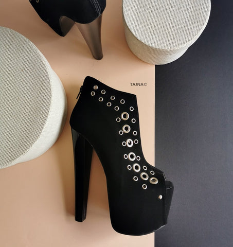 Black Metal Pinned Ankle Platforms - Tajna Club