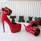 Red Belted Ankle Strap Platform Shoes - Tajna Club