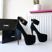 Black Faux Suede Belted Ankle Strap Platform Shoes - Tajna Club
