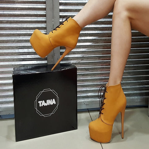 Camel Lace Up Ankle High Heel Platform Boots - Tajna Club