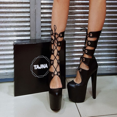 Black Gladiator High Platform Heel Boots - Tajna Club