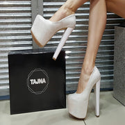 White Shiny High Platform Heels - Tajna Club