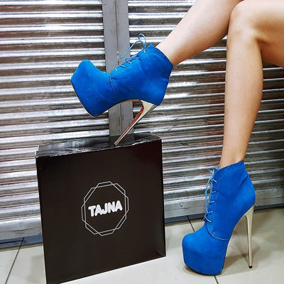 Blue Silver Heel Lace Up Ankle Platform Boots - Tajna Club