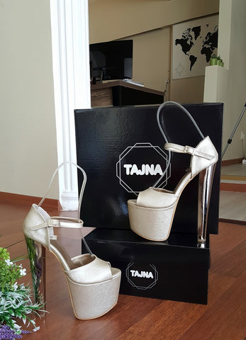 Dark Gold Strap Silver 19 cm Platform Shoes - Tajna Club