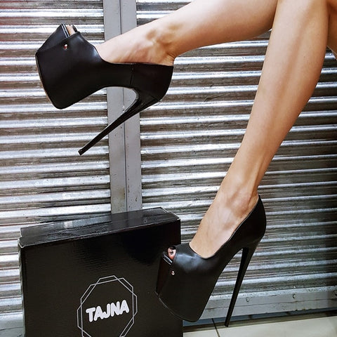 Classic Black Peep Toe High Heel Platform Shoes - Tajna Club