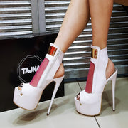 Peep Toe White Pink  Mesh Ankle Platform Booties - Tajna Club