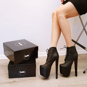 19 cm Black Lace Up Ankle Platform Boots - Tajna Club
