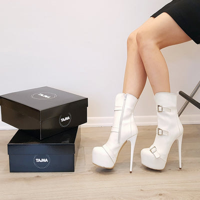 White Triple Belted Platform Boots - Tajna Club
