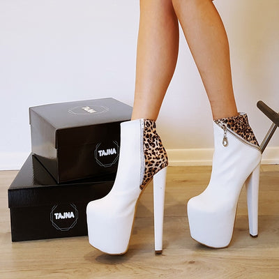 White Leopard Zipper Detail Ankle Platform Boots - Tajna Club