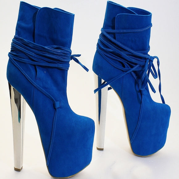 Blue Faux Suede Lace Up Platform Boots - Tajna Club