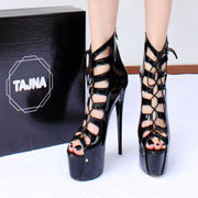 Gladiator Black Patent Leather Peep Toe Platform Shoes - Tajna Club