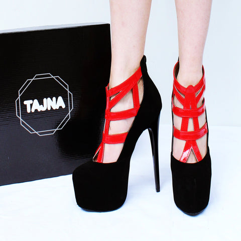 77e177d5c9d Black Red Cage High Heel Ankle Platforms – Tajna Club