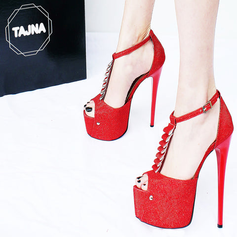 Red Shiny Ribbon Peep Toe Platform Shoes - Tajna Club