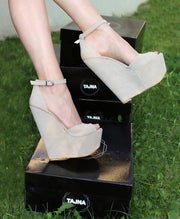 Beige Faux Suede Ankle Strap Wedge Sandals - Tajna Club