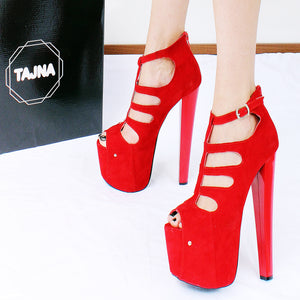 bd0203fc44b Red Faux Suede Cage Peep Toe Platform Shoes – Tajna Club