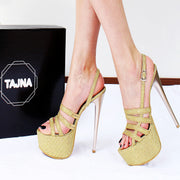 Gold Shiny Strap Peep Toe Platform Shoes - Tajna Club