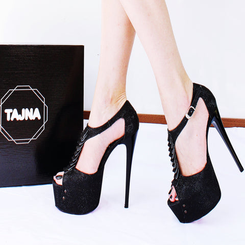 Black Shiny Ribbon Peep Toe Platform Shoes - Tajna Club