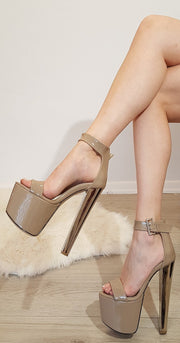 Beige Patent Strap Peep Toe High Heel Platform Shoes - Tajna Club