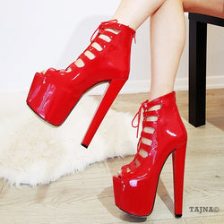 a88d39b6c3d8 Red Patent Leather Gladiator Peep Toe Platform Shoes