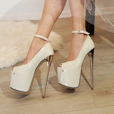 Cream Patent Strap Peep Toe High Heel Platform Shoes - Tajna Club