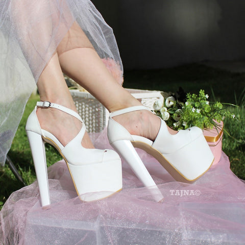 Ankle Cross Strap Peep Toe White Platform Shoes - Tajna Club