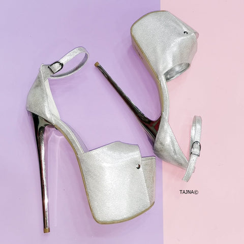 Silver Satin Thin High Heel Platforms - Tajna Club