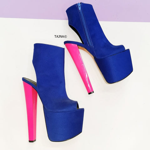 Blue Pink Slingback Ankle Platforms - Tajna Club