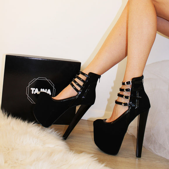 Black Faux Suede Belted Platform Heel Boots - Tajna Club
