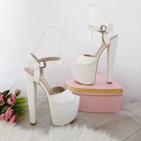White Peep Toe Ankle Strap High Heel Platform Shoes - Tajna Club