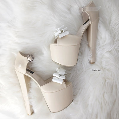 Cream Ribbon Transparent Strap Bridal Shoes - Tajna Club