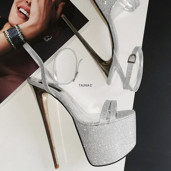 Silver Shine Metallic 19 cm High Heel Sandals - Tajna Club