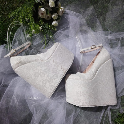 Ankle Strap White Lace High Wedge Wedding Shoes - Tajna Club
