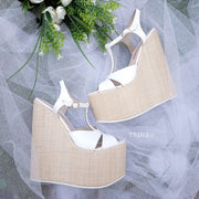 Ankle Strap White Summer High Heel Wedge Sandals - Tajna Club