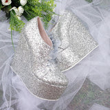 Lace Up Silver Shimmer Platform Wedge Shoes - Tajna Club