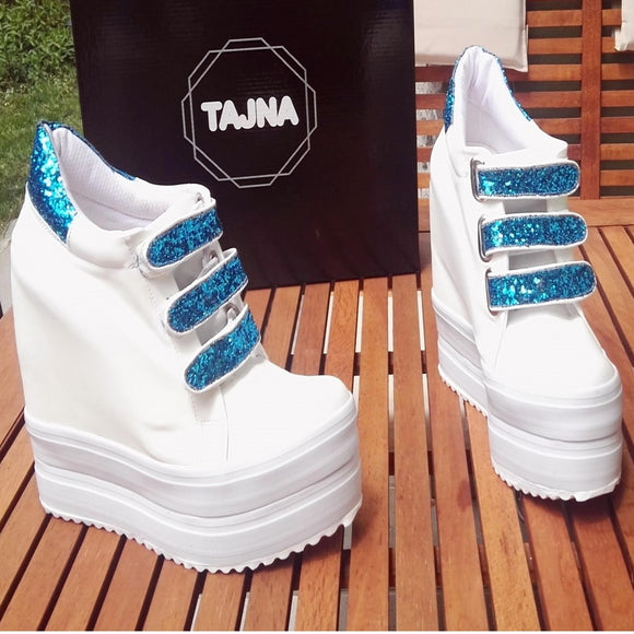 White Blue Hook Pile Platform Wedge Shoes - Tajna Club