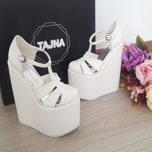 18 cm White Wedge Platform Shoes - Tajna Club