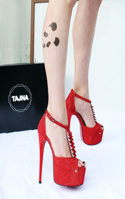 Red Shimmer Ankle Strap Peep Toe - Tajna Club