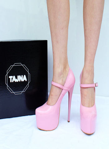 Mary Jane Light Pink  High Heel Platform Shoes - Tajna Club