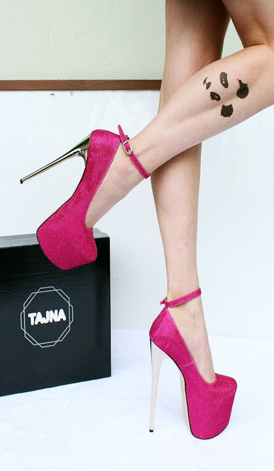 Pink Shimmer High Heel Platform Shoes - Tajna Club