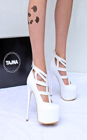 White Cage High Heel Platform Shoes - Tajna Club