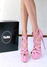 Cage Bootie Light Pink  High Heel Platform Shoes - Tajna Club