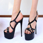 Black Patent Ankle Strap Peep Toe High Heel Shoes - Tajna Club